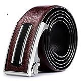 JIEJING Men's Business Belt,Automatic buckle Youth Belt wild Leisure Belt-dark brown 110cm(43inch)