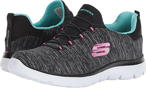 Skechers Women's Summit - Quick Getaway Black/Light Blue 7.5