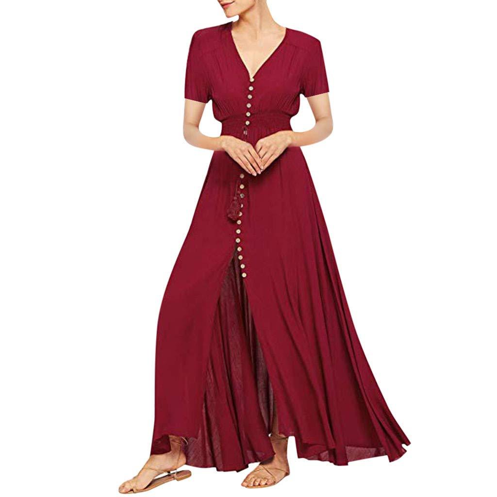 Women's Button Down Long Dresses - Casual Solid Color Bohemian Split Flowy Comfy Sundresses Evening Party Maxi Dress