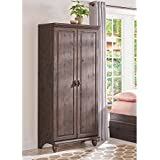 Storage Cabinet, Traditional Style, 4 Adjustable Shelves, 1 Fixed Shelf, Frame and Two, Full-Length Framed Panel Doors, Solid Wood Raised Feet, Decorative Knobs, Heritage Walnut + Expert Guide
