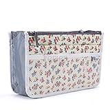 Periea Handbag Organizer Purse Insert - Kiri - 2 Colors Available - Small, Medium or Large (Small, Floral Cream)
