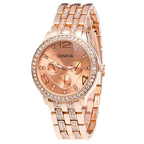 Costume Jewellery Watches (OurJewellery Bling Rose Gold Plated Stainless Steel CZ Watches Rhinestone Dial - Rose Gold)