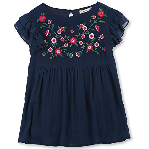 Speechless Big Girls' Flutter Sleeve Embroidered Top, Navy, M