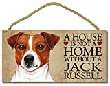 """Jack Russel """"A house is not a home without a Jack Russel"""" - 5"""" x 10"""" Door Sign with Bonus 1pc Stand and """"I Love My Dog"""" 3 Inch Round Decal"""