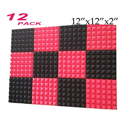 12Pcs Black Acoustic Foam Sound Absorption Pyramid Studio Treatment Wall Panel 2