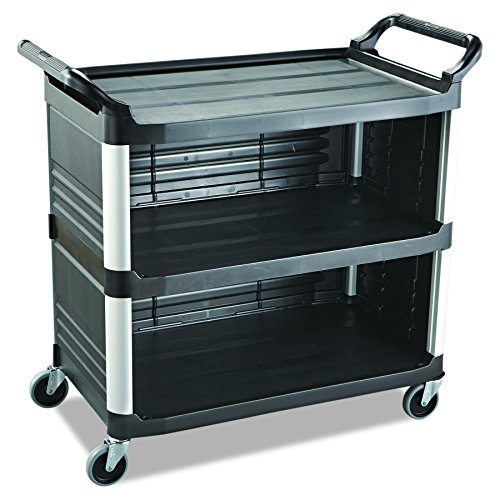 Enclosed Utility Cart - Rubbermaid Commercial 4093BLA Xtra Utility Cart, 300-lb Cap, Three-Shelf, 20w x 40-5/8d x 37-4/5h, Black