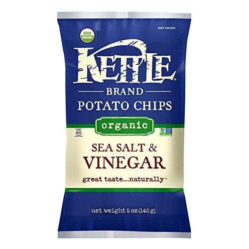 Kettle Brand, Organic Kettle Chips; Sea Salt & Vinegar, Pack of 15, Size - 5 OZ, Quantity - 1 Case by Kettle Brand