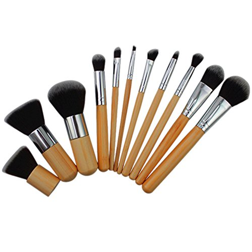 11pcs Wood Handle Makeup Sets Cosmetic Eyeshadow Foundation Concealer Brush Sets Brushes