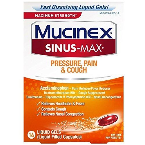 Mucinex Sinus-Max Max Strength Pressure, Pain & Cough Liquid Gels 16 ea (Best Medicine For Throat Pain And Cough)