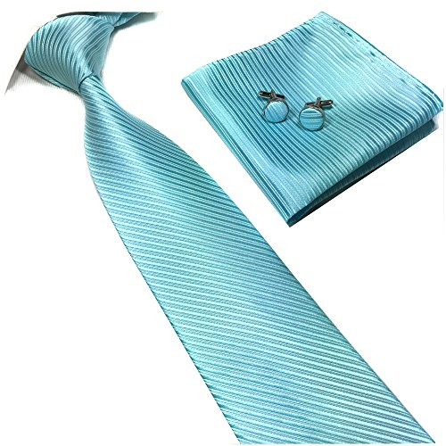 Men's Lake Blue Party Prom Dating Necktie Bright Solid Colored Tie in Aruba Blue