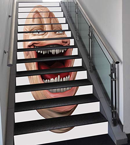 Stair Stickers Wall Stickers,13 PCS Self-adhesive,Humor Decor,Poker Face Guy Meme Laughing Mock Person Smug Stupid Odd Post Forum Graphic,Peach Pearl,Stair Riser Decal for Living Room, Hall, Kids Room