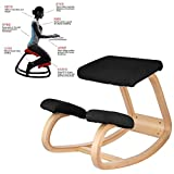 Superland Wooden Ergonomic Kneeling Chair Better Posture Kneeling Stool Bentwood Comfortable Ergonomic Office Chair Great Home Office or Desk Chair (OM-141 Black Kneeling Chair)
