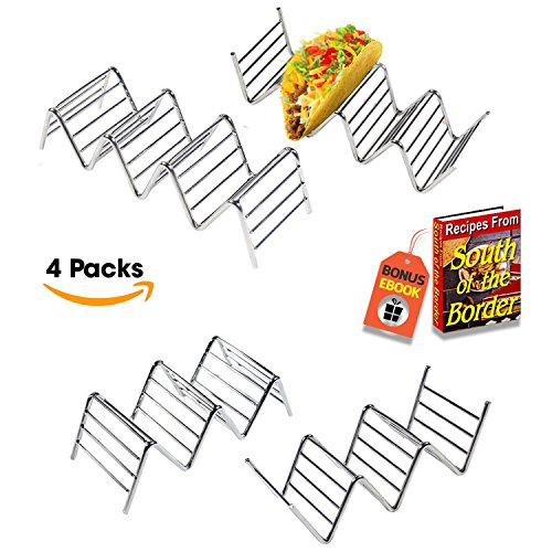 (Premium Quality Stainless Steel Taco Holder Stand - Taco Rack - Taco Truck Tray Hold Up To 14 Soft or Hard Taco Shells - Dishwasher, Oven Safe For Baking or Reheating - Set of 4 Packs + BONUS eBook)