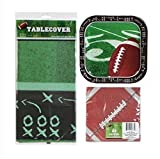 Super Bowl Football Themed Party Pack with Paper Plates, Napkins and Tablecover Serves 14