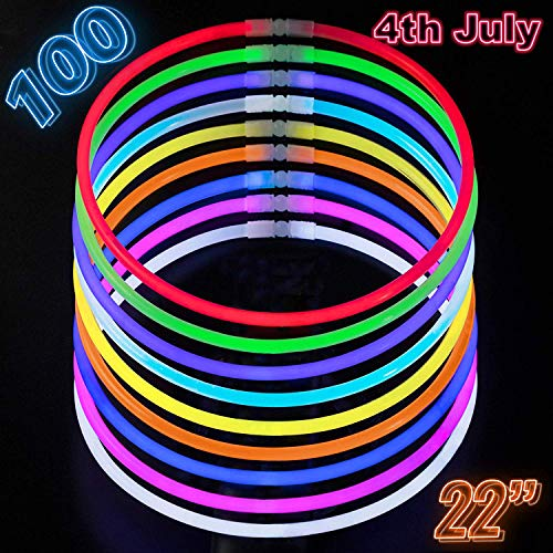 "Glow Sticks Bulk Party Supplies - 100 Light Stick Necklaces - Extra Bright Glow In The Dark Party Favors - 22"" Inch Necklace Strong 6mm Thick - 9 Vibrant Neon Colors - Stuffers for Kids - Mix"