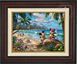 Thomas Kinkade Disney Mickey and Minnie in Hawaii 18'' x 24'' Standard Number (S/N) Limited Edition Canvas (Burl Frame)