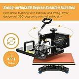 "Nurxiovo 15x15"" 5 in 1 Heat Press Transfer Machine Swing-Away Digital Transfer Sublimation T-Shirt Hot Pressing Machine-Multipurpose Mug/Hat Plate/Cap Press,Combo Kit"