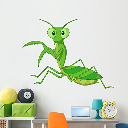 (Cute Praying Mantis Cartoon Wall Decal by Wallmonkeys Peel and Stick Graphic (60 in W x 45 in H) WM159872)