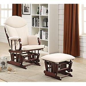 Acme Furniture 59330 2 Piece Raul Glider Chair & Ottoman, Beige & Cherry