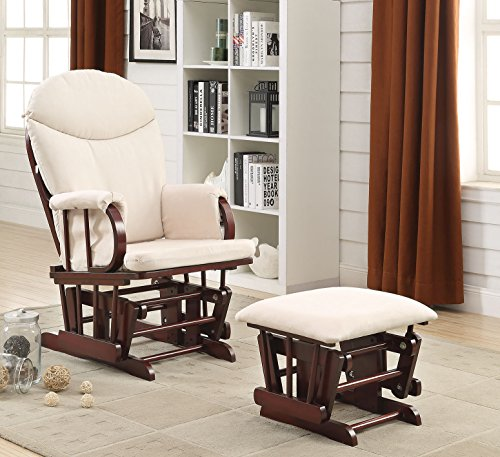 ACME Furniture 59330 2 Piece Raul Glider Chair & Ottoman, Beige & Cherry by Acme Furniture