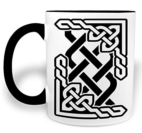 - Celtic Knot Crossover- Black Handled 11 Ounce Ceramic Coffee Mug