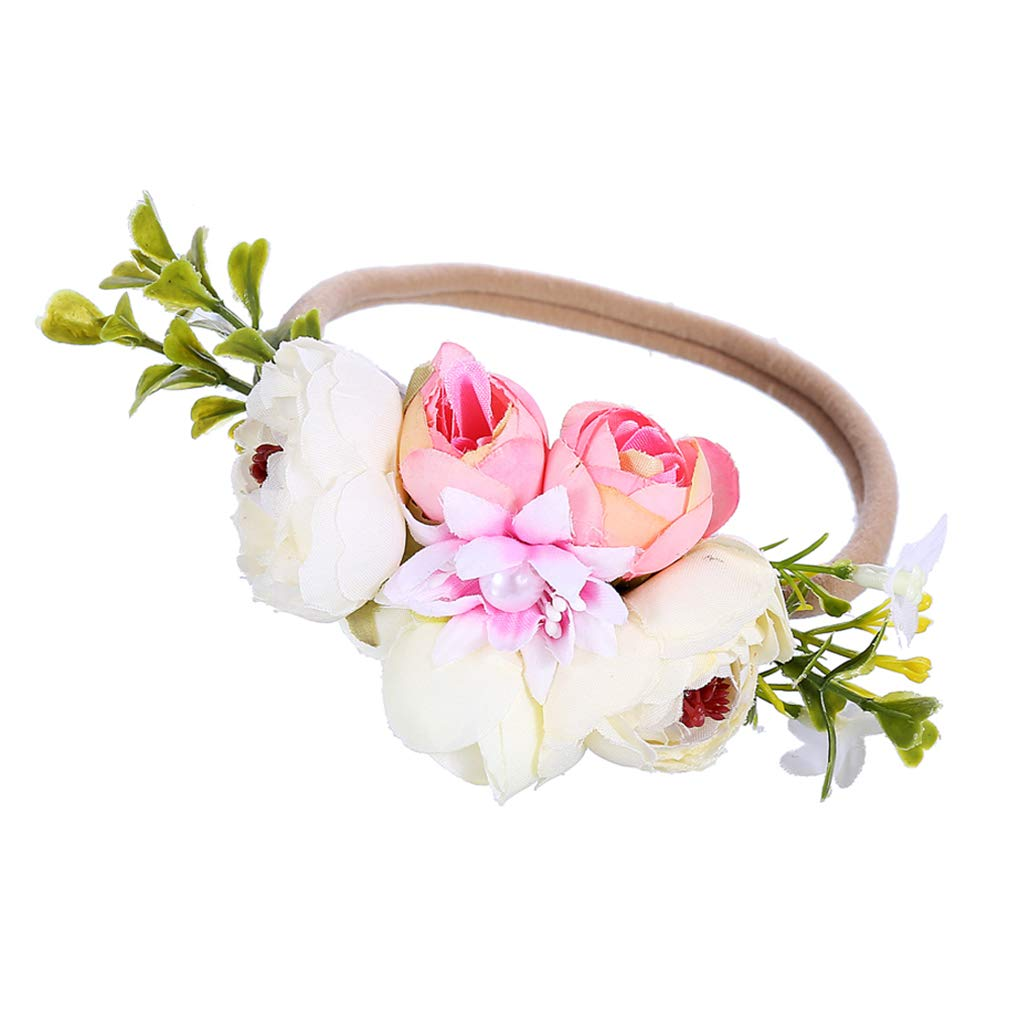 Newborn Baby Girls Infant Toddler Cute Crown Elastic Flower Headband Hair Band Headwear Accessories Party Supplies