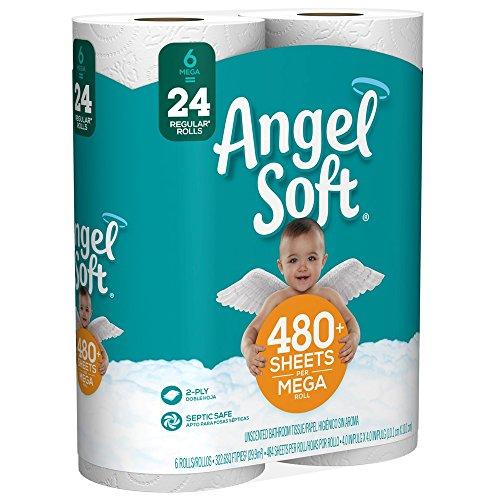 Angel Soft Mega Roll Toilet Paper, 6 Rolls, Equivalent to 24 Regular (121-Sheet) Rolls
