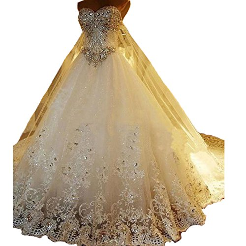Yuxin Luxury Sweetheart Crystal Beaded Wedding Dress 2018 Princess Long Train Lace Ball Gown Wedding Dress for Bride