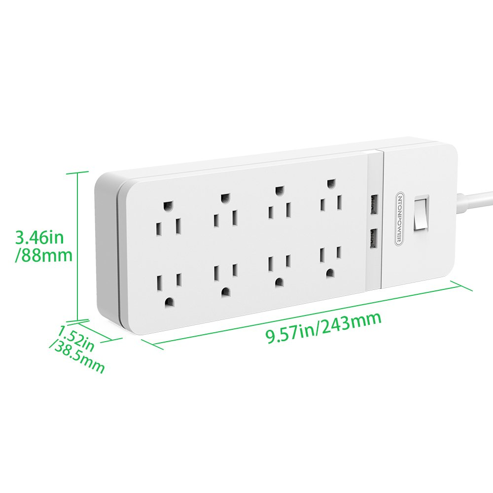 6 Outlet 2 Usb Power Strip Surge Protector With Overload Protection Electronic Appliance Swtich Safety Bar