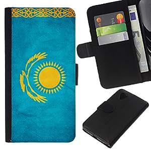 """Be-Star la tarjeta de Cr¨¦dito Slots PU Funda de cuero Monedero caso cubierta de piel Para LG Nexus 5 D820 D821 ( Bandera nacional de la Serie-Kazajst¨¢n"""" )"""