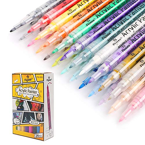 L'AISE VIE Acrylic Paint Markers, Paint Pens for Rock Painting, Stone, Ceramic, Glass, Wood (0.7mm Fine Tip, 24 Colors)