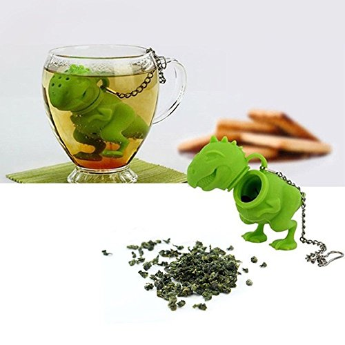 Hall Coffee Pot (gangnumsky-Unique Cute Tea Strainer, Interesting Life Partner Cute T-Rek Dinosaur Mr Teapot Silicone Tea Infuser Filter Teapot for Tea & Coffee)