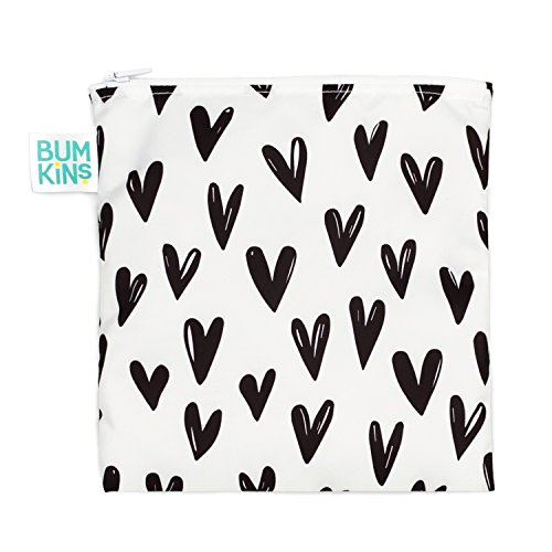 Bumkins Sandwich Bag/Snack Bag, Reusable, Washable, Food Safe, BPA Free, 7x7 - Black Hearts