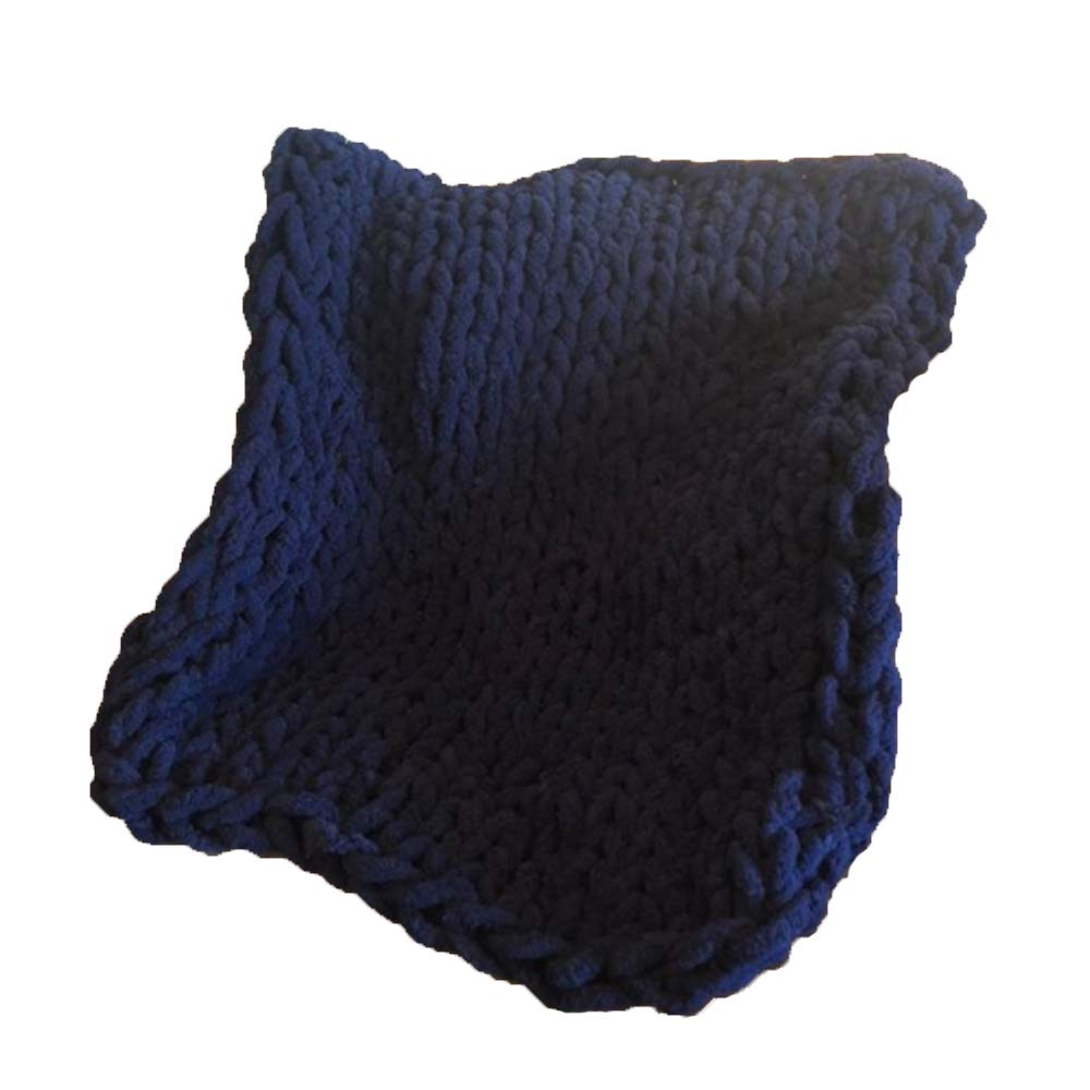 Navy bluee 39x59inch 39x59inch Chenille Yarn Throw Blanket,Navy bluee Hand Knit Throw Blanket,Giant Knit Blanket,Chenille Blanket,Knit Chenille Throw Blanket,Great for Baby Not Shedding