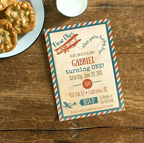 Red Blue Airplane Vintage Invite, Time flies when you are having fun Invite, First Birthday, Aviation Invite, Airplane Birthday Printable ()