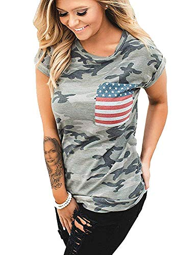 POPTEM Womens Casual American Flag T Shirt 4th of July Short Sleeve Tee USA Patriotic Summer Blouse Tops Gray ()