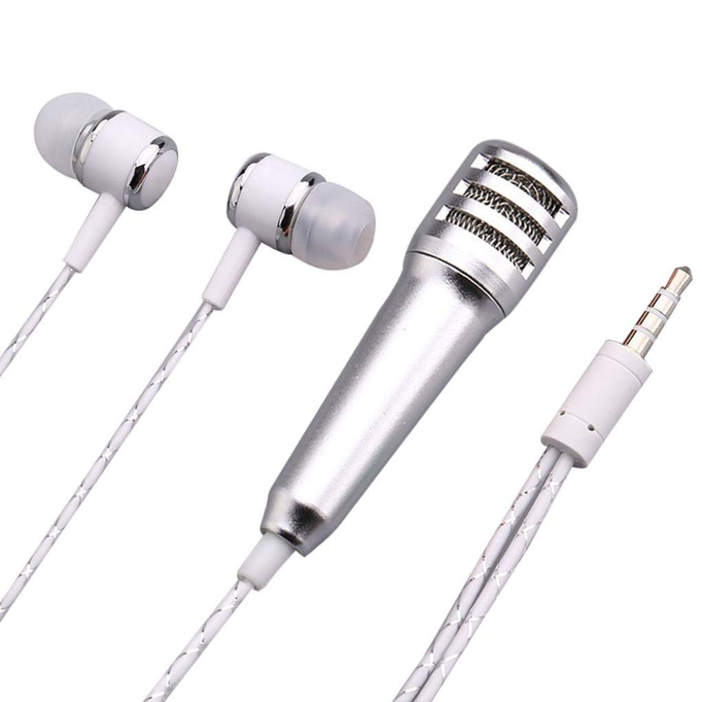 ❤♬♬❤ Mini Karaoke Condenser Microphone With Earphone For Church/Home / Karaoke/Business Meeting/PA Systems/Stage/ (Silver)