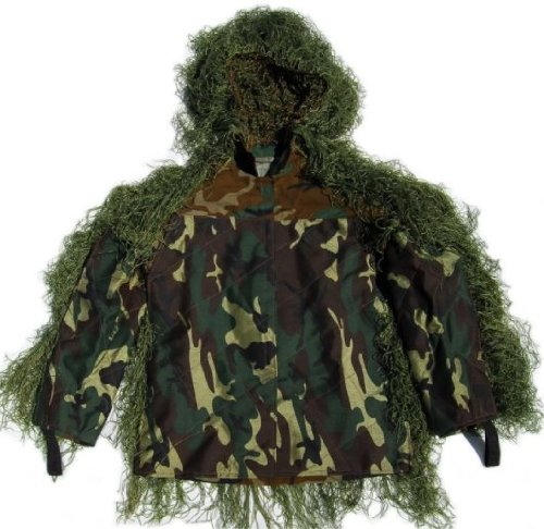 Ultralight Ghillie (Synthetic Ultra-Light Sniper Ghillie Leafy Green BDU Jacket 3XL)