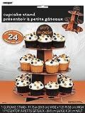Cardboard Orange & Black Polka Dot Halloween Cupcake Stand