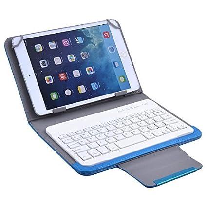 eDealMax PU portátil de Cuero del Cuero del teclado inalámbrico Universal cubierta de la caja Azul