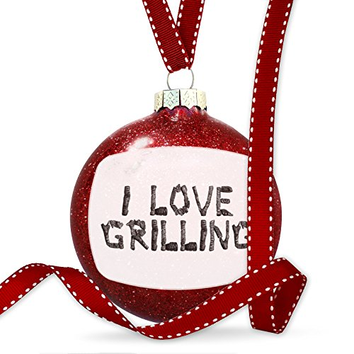 Christmas Decoration I Love Grilling Coal Grill Fire Place Ornament by NEONBLOND