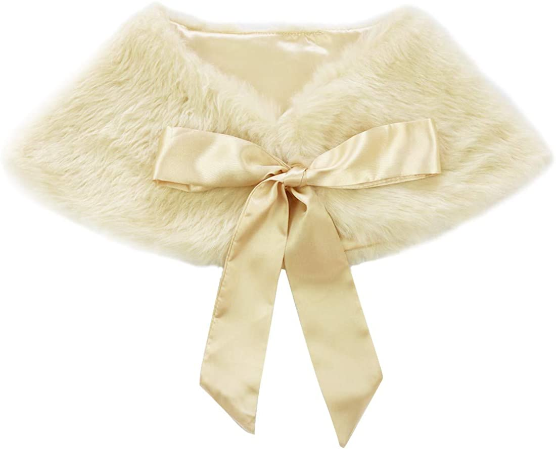 ranrann Kids Girl Faux Fur Bolero Shrug Shawl Wedding Wraps Ribbon Ties Shoulder Cape Ball Gown Cover up