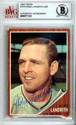 hobie-landrith-autographed-signed-1962-topps-card-279-new-york-mets-beckett-certified