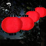 MISC Set of 4 - Red Solar Floating Lanterns Outdoor Chinese Lights Decorative Hanging Party Lighting Patio Backyard Garden Rechargeable from Sun, Nylon LED