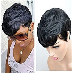 SeaSense Short Layered Wavy Human Hair Black Cute Natural Curly Wigs for Black Women 1B Color