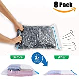 Travel Space Saver Bags by JHS-Tech -No Vacuum or Pump Needed - Pack of 8 Bags(2 x Small,Medium,Larg,Jumbo) - Roll-up Compression Bags Perfect for Travel,Camping and Home Storage