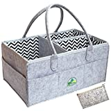 Baby Diaper Caddy Organizer Grey - Large Portable Nursery Storage Bin for Diapers Toys |Sturdy Boy Girl Changing Table Kit and Car Travel Bag | Perfect Baby Shower Gift | Cosmetic Pouch Included