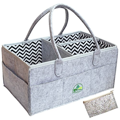 (Baby Diaper Caddy Organizer Grey - Large Portable Nursery Storage Bin for Diapers Toys |Sturdy Boy Girl Changing Table Kit and Car Travel Bag | Perfect Baby Shower Gift | Cosmetic Pouch Included)