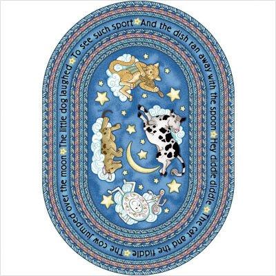 Joy Carpets Kid Essentials Infants & Toddlers Hey Diddle Diddle Rug, Blue, 7'8'' x 10'9''