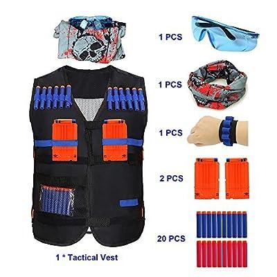 Minver Adjustable Tactical Vest Jacket Accessories Kit for Nerf Guns' N-strike Elite Series for kids